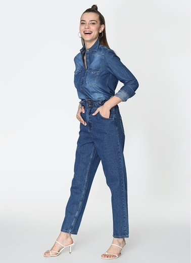 Loves You Yüksek Bel Mom Jean Pantolon Mavi